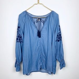 Gap Embroidered Ruffle Sleeve Chambray Blouse